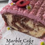 A side shot showing the marbling inside of the marble cake.