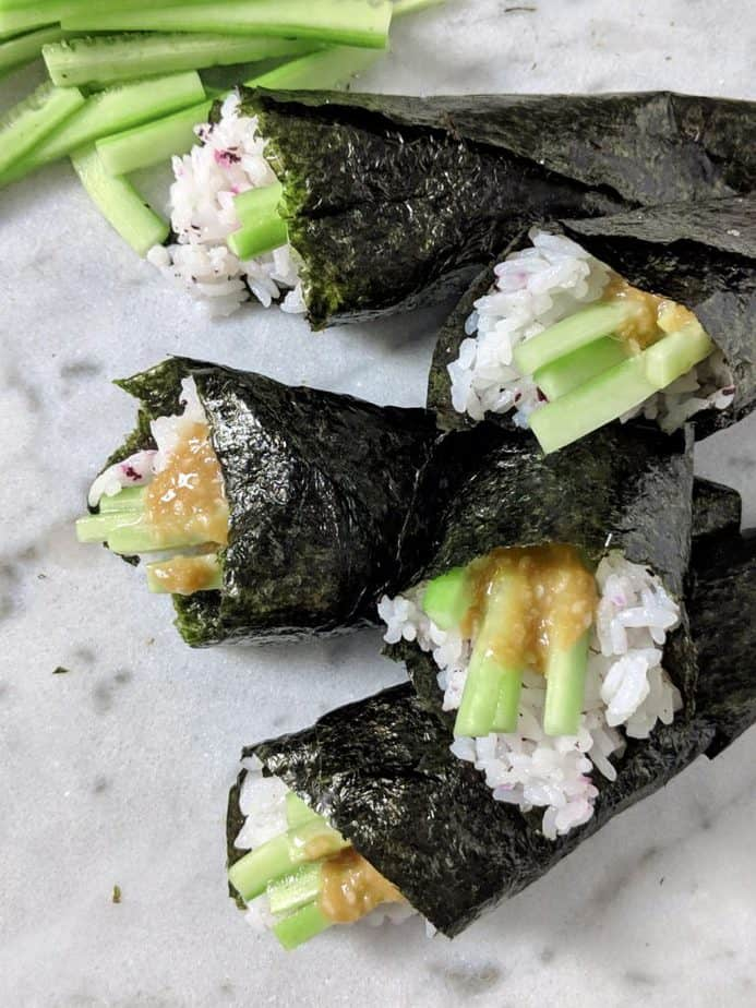 Stacked sushi hand rolls