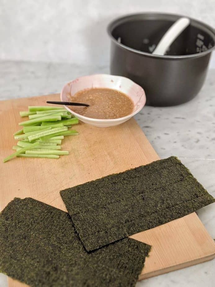 A sheet of nori cut in half