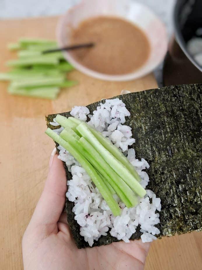 Cucumber and rice on nori