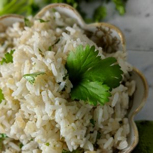 Rice in a bowl garnished with cilantro.