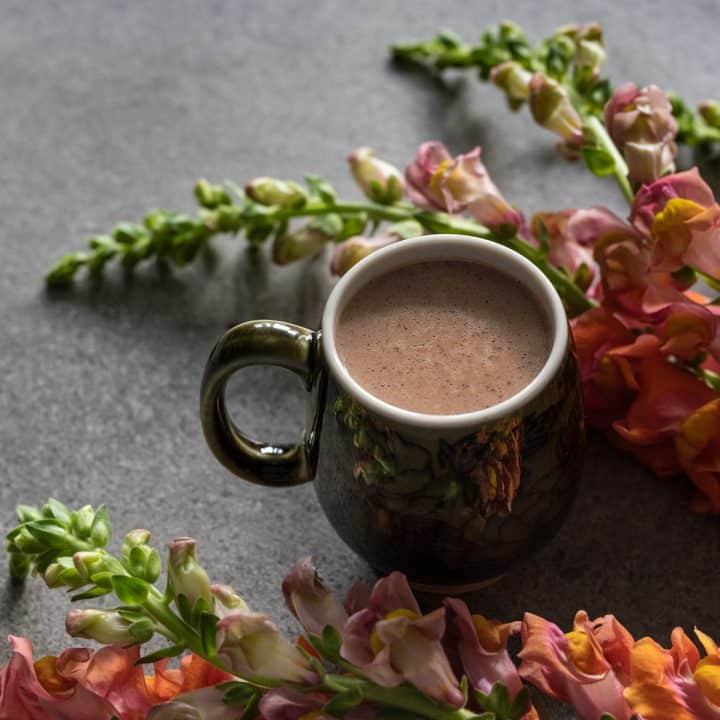 A mug of Caribbean cocoa tea beside snapdragon flowers.